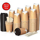 100 Kraft Flat Double Walled Paper Cups to Go 12 Oz / 360 ml with Lids and Wooden Stirrers for Serving Coffee, Tea, Hot and Cold Drinks