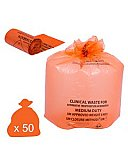 ORANGE LARGE CLINICAL WASTE BAGS - HEAVY DUTY 90L