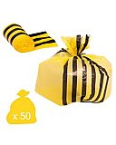 50 Yellow Large Tiger Stripe Waste Bags - Medium Duty 70L
